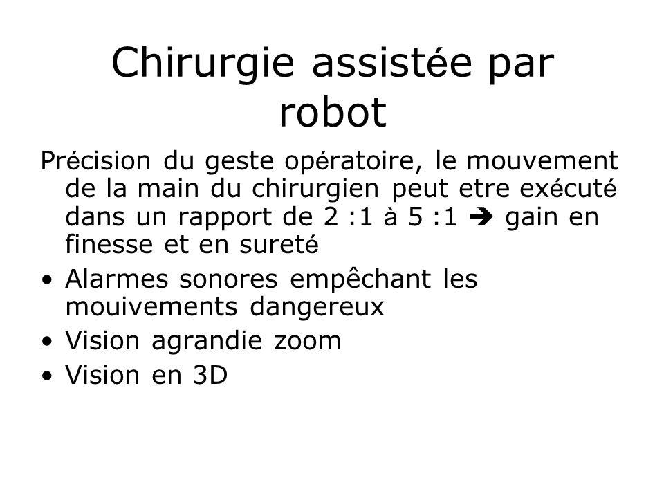 Chirurgie assist é e par robot Pr é cision du geste op é ratoire, le mouvement de la main du chirurgien peut etre ex é cut é dans un rapport de 2 :1 à