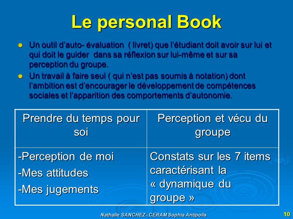 Nathalie SANCHEZ - CERAM Sophia Antipolis 10 Le personal Book Un outil dauto- évaluation ( livret) que létudiant doit avoir sur lui et qui doit le gui