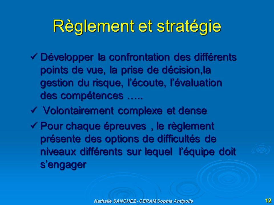 Nathalie SANCHEZ - CERAM Sophia Antipolis 12 Règlement et stratégie Développer la confrontation des différents points de vue, la prise de décision,la