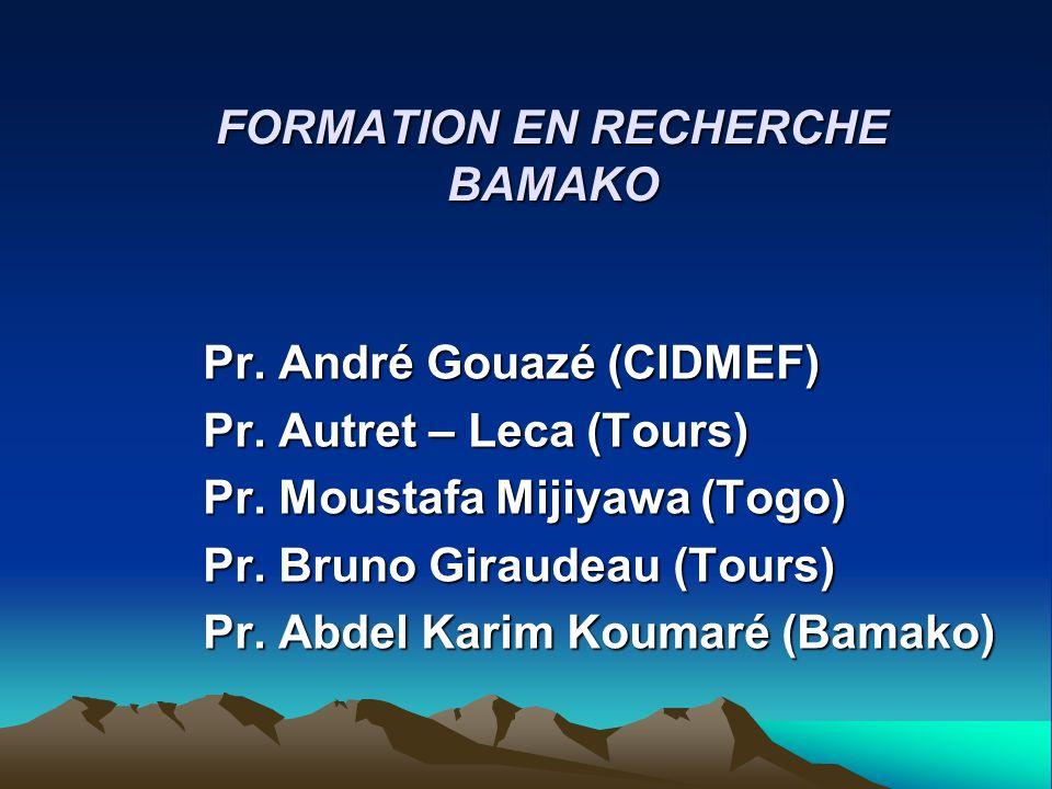 FORMATION EN RECHERCHE BAMAKO Pr. André Gouazé (CIDMEF) Pr. Autret – Leca (Tours) Pr. Moustafa Mijiyawa (Togo) Pr. Bruno Giraudeau (Tours) Pr. Abdel K