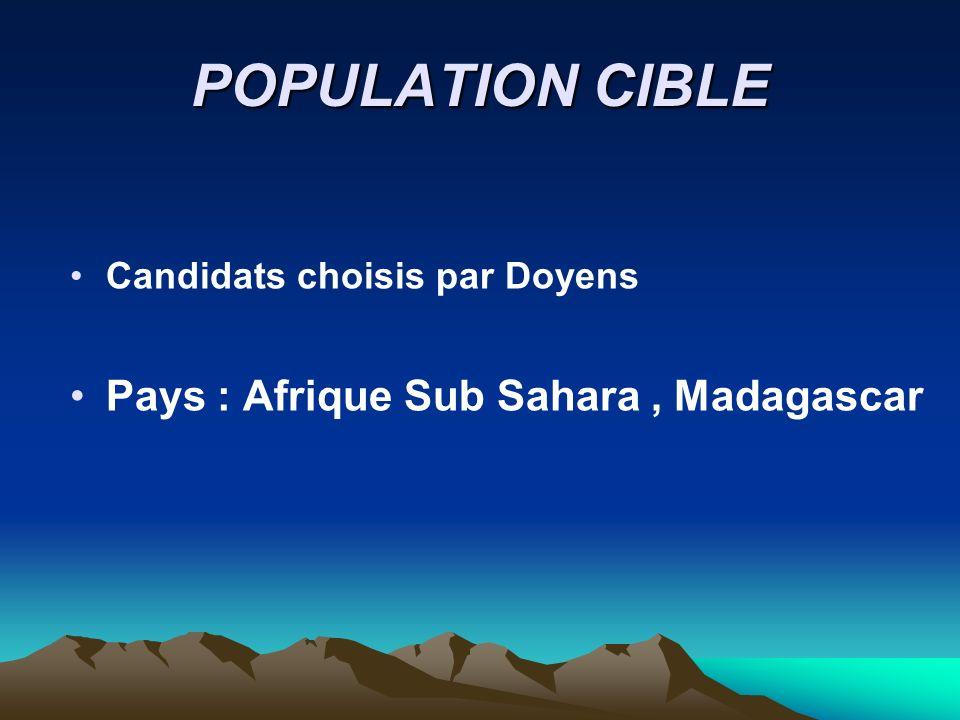 POPULATION CIBLE Candidats choisis par Doyens Pays : Afrique Sub Sahara, Madagascar