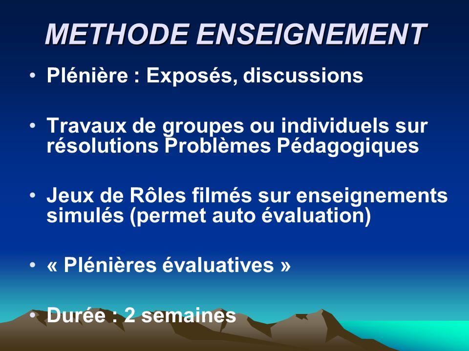 METHODE ENSEIGNEMENT Plénière : Exposés, discussions Travaux de groupes ou individuels sur résolutions Problèmes Pédagogiques Jeux de Rôles filmés sur