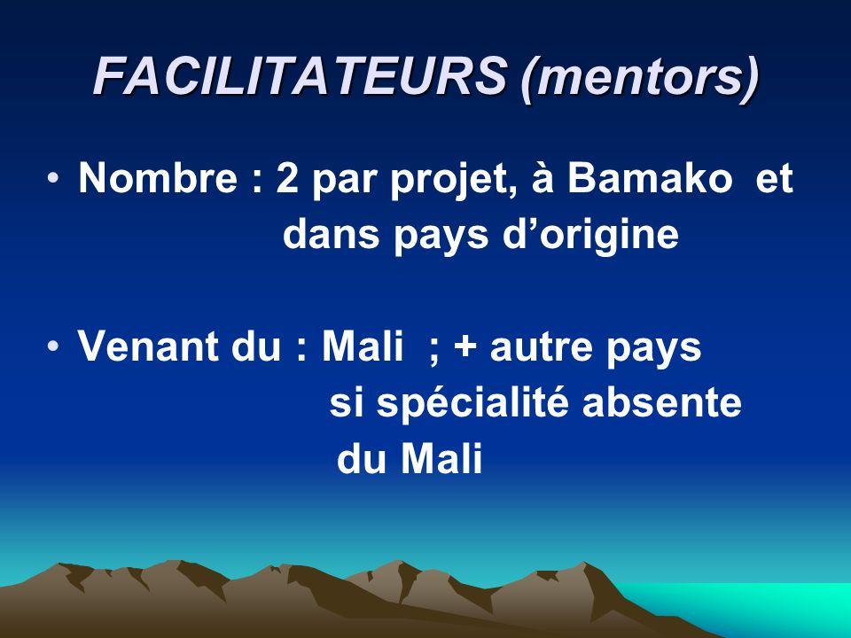 FACILITATEURS (mentors) Nombre : 2 par projet, à Bamako et dans pays dorigine Venant du : Mali ; + autre pays si spécialité absente du Mali