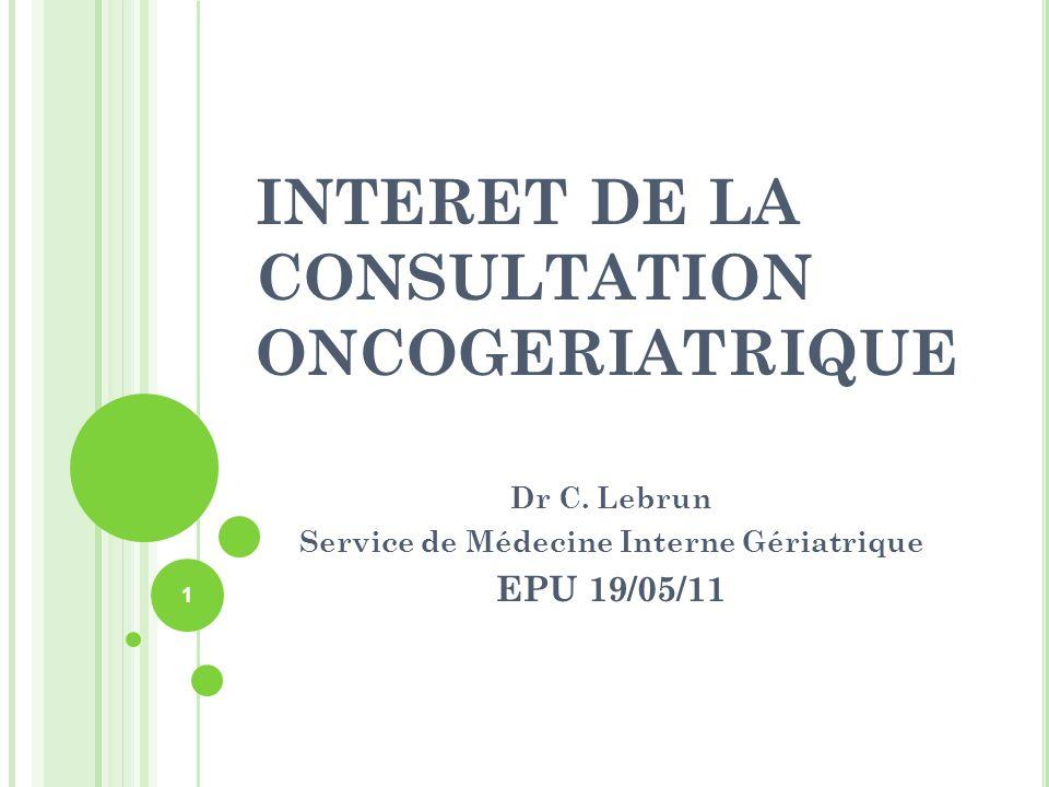 INTERET DE LA CONSULTATION ONCOGERIATRIQUE Dr C. Lebrun Service de Médecine Interne Gériatrique EPU 19/05/11 1
