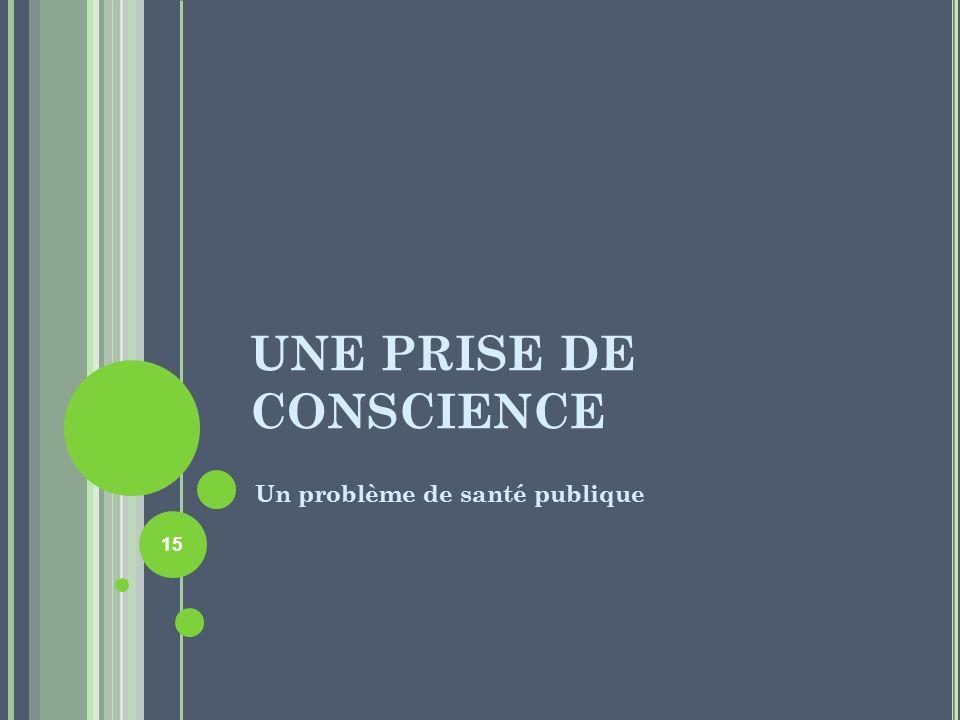 UNE PRISE DE CONSCIENCE Un problème de santé publique 15