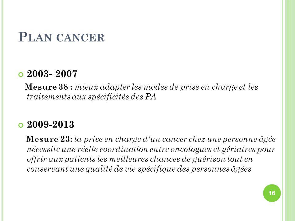 P LAN CANCER 2003- 2007 Mesure 38 : mieux adapter les modes de prise en charge et les traitements aux spécificités des PA 2009-2013 Mesure 23: la pris