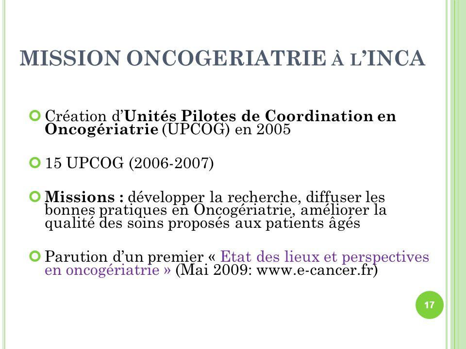 MISSION ONCOGERIATRIE À L INCA Création d Unités Pilotes de Coordination en Oncogériatrie (UPCOG) en 2005 15 UPCOG (2006-2007) Missions : développer l