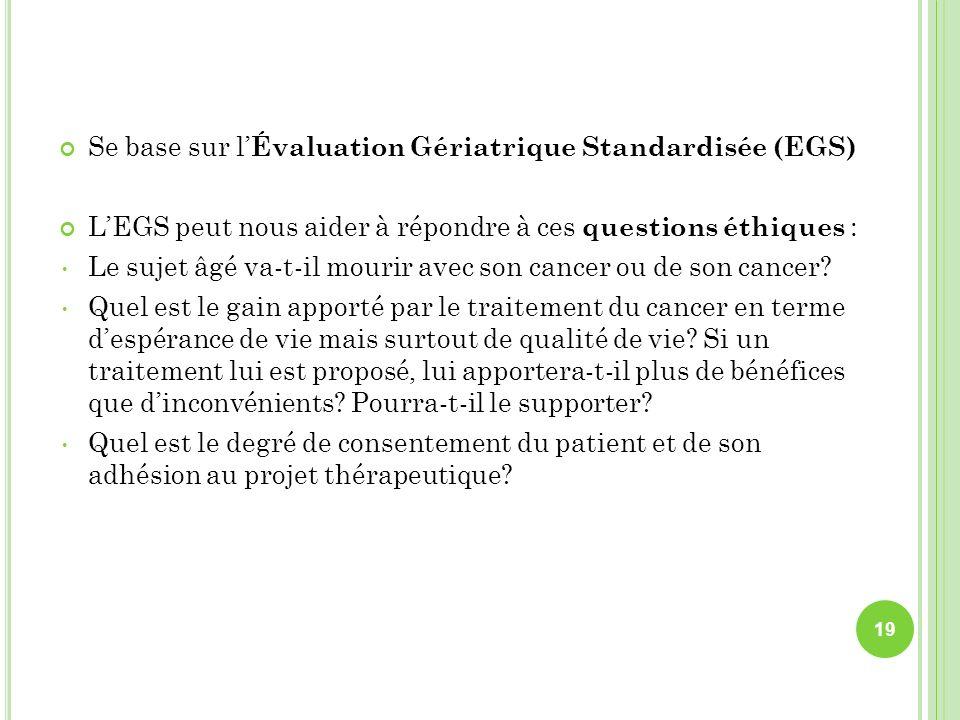 Se base sur l Évaluation Gériatrique Standardisée (EGS) LEGS peut nous aider à répondre à ces questions éthiques : Le sujet âgé va-t-il mourir avec so