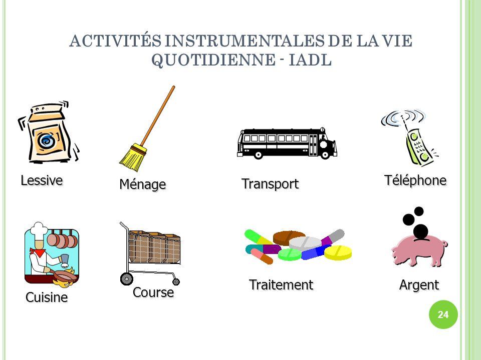 ACTIVITÉS INSTRUMENTALES DE LA VIE QUOTIDIENNE - IADL Lessive Ménage Cuisine Course Transport Téléphone TraitementArgent 24