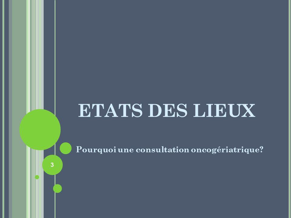 ETATS DES LIEUX Pourquoi une consultation oncogériatrique? 3