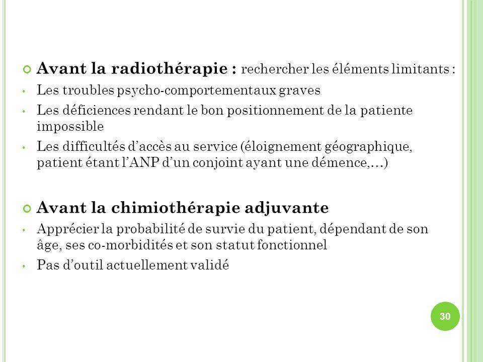 Avant la radiothérapie : rechercher les éléments limitants : Les troubles psycho-comportementaux graves Les déficiences rendant le bon positionnement