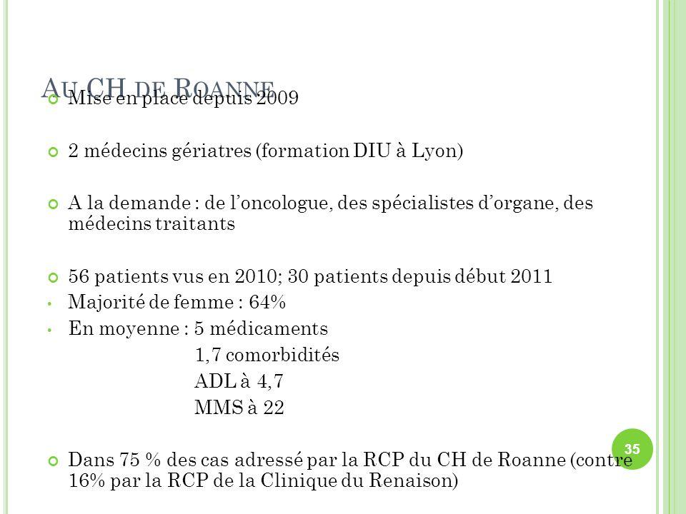 A U CH DE R OANNE Mise en place depuis 2009 2 médecins gériatres (formation DIU à Lyon) A la demande : de loncologue, des spécialistes dorgane, des mé