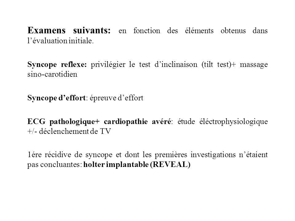Examens suivants: en fonction des éléments obtenus dans lévaluation initiale. Syncope reflexe: privilégier le test dinclinaison (tilt test)+ massage s