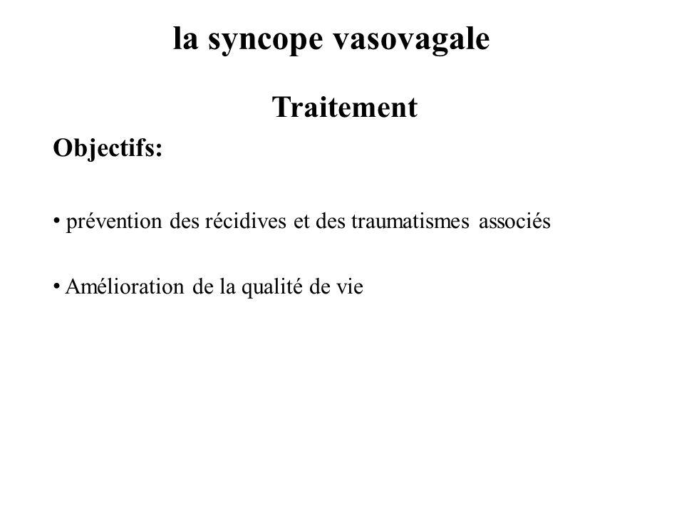 la syncope vasovagale Traitement Objectifs: prévention des récidives et des traumatismes associés Amélioration de la qualité de vie