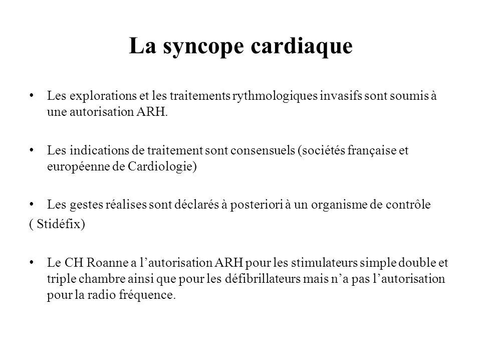 La syncope cardiaque Les explorations et les traitements rythmologiques invasifs sont soumis à une autorisation ARH. Les indications de traitement son