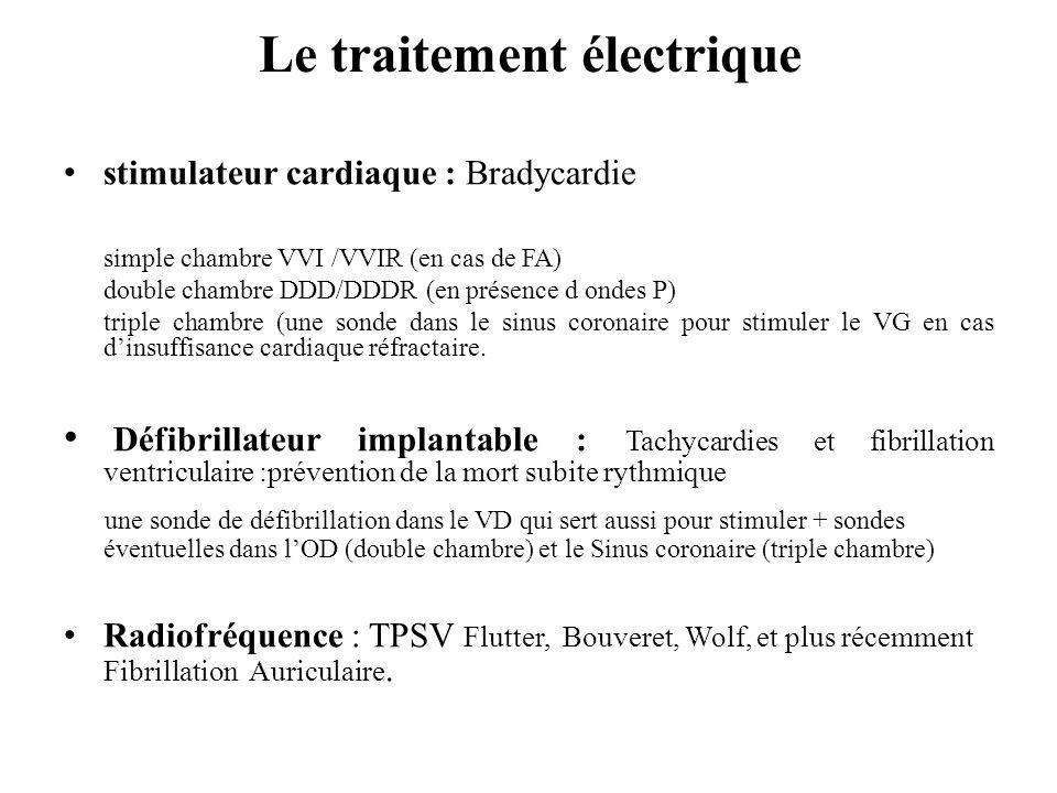 Le traitement électrique stimulateur cardiaque : Bradycardie simple chambre VVI /VVIR (en cas de FA) double chambre DDD/DDDR (en présence d ondes P) t