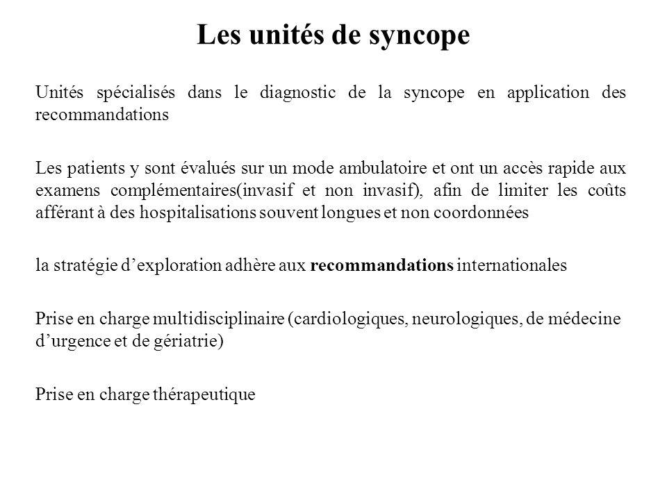 Les unités de syncope Unités spécialisés dans le diagnostic de la syncope en application des recommandations Les patients y sont évalués sur un mode a
