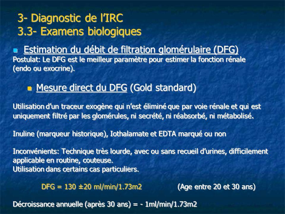 3- Diagnostic de lIRC 3.3- Examens biologiques Estimation du débit de filtration glomérulaire (DFG) Estimation du débit de filtration glomérulaire (DF