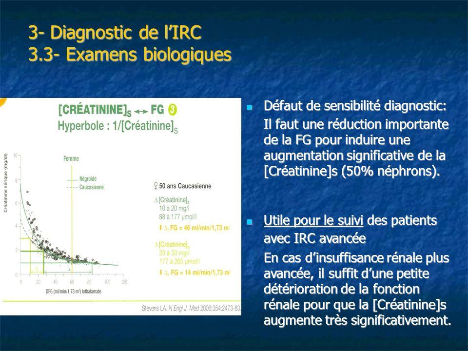 3- Diagnostic de lIRC 3.3- Examens biologiques Défaut de sensibilité diagnostic: Défaut de sensibilité diagnostic: Il faut une réduction importante de