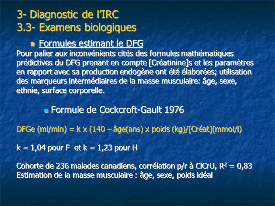 3- Diagnostic de lIRC 3.3- Examens biologiques Formules estimant le DFG Formules estimant le DFG Pour palier aux inconvénients cités des formules math