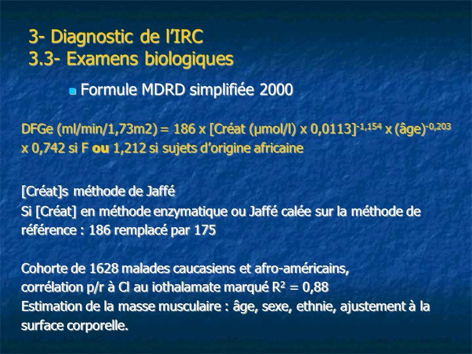 3- Diagnostic de lIRC 3.3- Examens biologiques Formule MDRD simplifiée 2000 Formule MDRD simplifiée 2000 DFGe (ml/min/1,73m2) = 186 x [Créat (µmol/l)