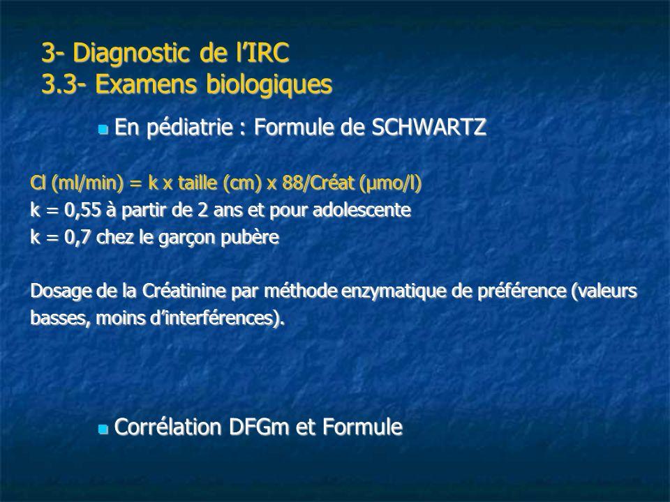 3- Diagnostic de lIRC 3.3- Examens biologiques En pédiatrie : Formule de SCHWARTZ En pédiatrie : Formule de SCHWARTZ Cl (ml/min) = k x taille (cm) x 8