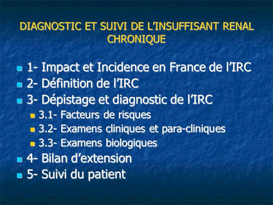 DIAGNOSTIC ET SUIVI DE LINSUFFISANT RENAL CHRONIQUE 1- Impact et Incidence en France de lIRC 1- Impact et Incidence en France de lIRC 2- Définition de