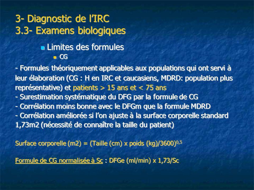 3- Diagnostic de lIRC 3.3- Examens biologiques Limites des formules Limites des formules CG CG - Formules théoriquement applicables aux populations qu