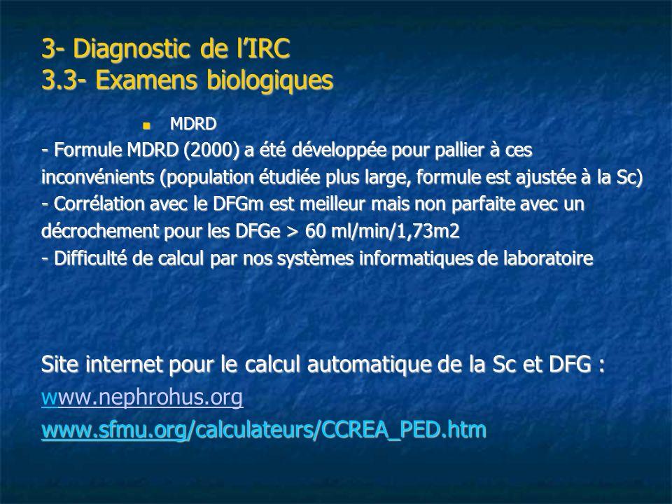 3- Diagnostic de lIRC 3.3- Examens biologiques MDRD MDRD - Formule MDRD (2000) a été développée pour pallier à ces inconvénients (population étudiée p
