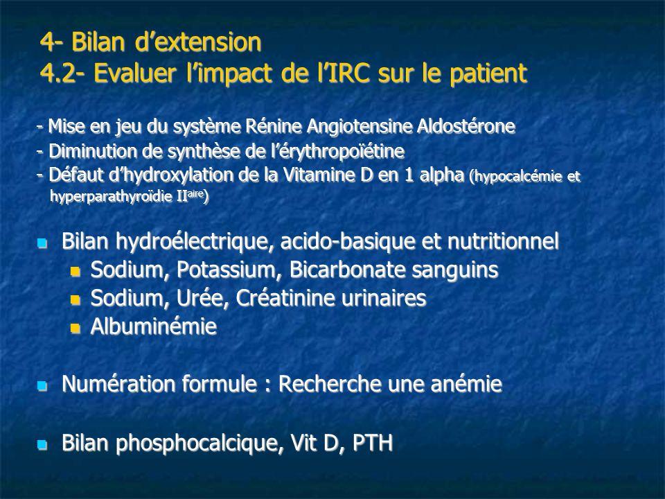 4- Bilan dextension 4.2- Evaluer limpact de lIRC sur le patient - Mise en jeu du système Rénine Angiotensine Aldostérone - Diminution de synthèse de l