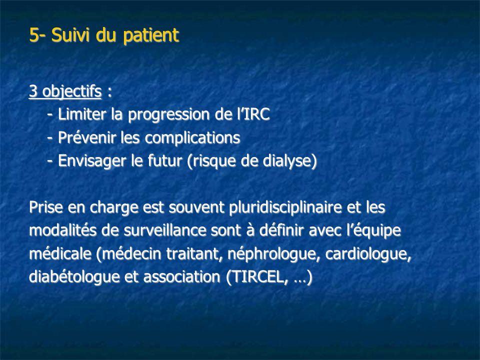 5- Suivi du patient 3 objectifs : - Limiter la progression de lIRC - Prévenir les complications - Envisager le futur (risque de dialyse) Prise en char