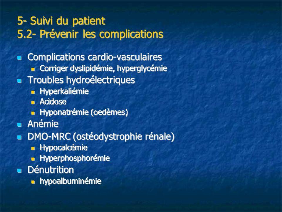 5- Suivi du patient 5.2- Prévenir les complications Complications cardio-vasculaires Complications cardio-vasculaires Corriger dyslipidémie, hyperglyc