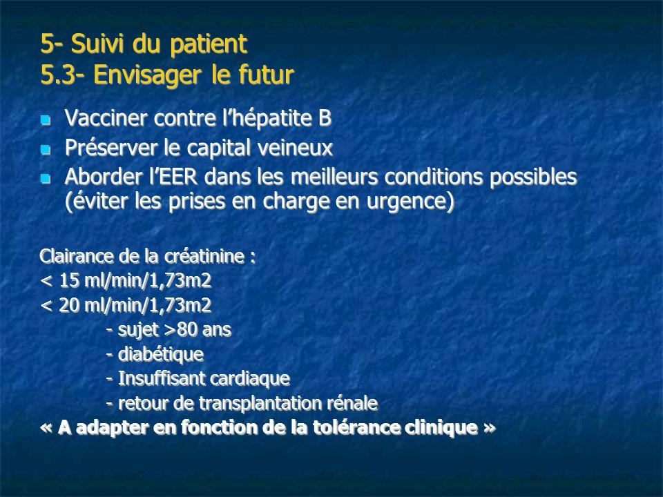 5- Suivi du patient 5.3- Envisager le futur Vacciner contre lhépatite B Vacciner contre lhépatite B Préserver le capital veineux Préserver le capital