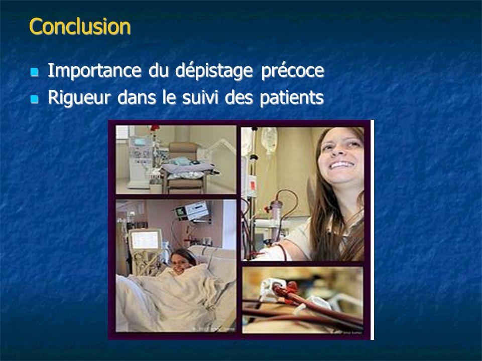 Conclusion Importance du dépistage précoce Importance du dépistage précoce Rigueur dans le suivi des patients Rigueur dans le suivi des patients