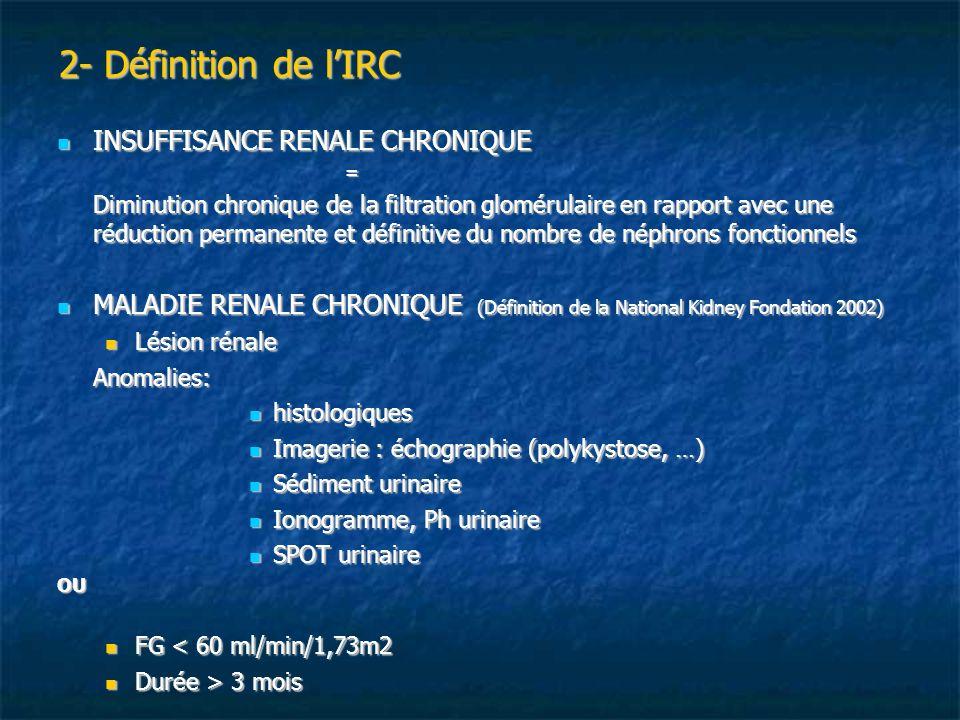 2- Définition de lIRC INSUFFISANCE RENALE CHRONIQUE INSUFFISANCE RENALE CHRONIQUE= Diminution chronique de la filtration glomérulaire en rapport avec
