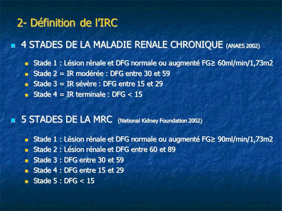 2- Définition de lIRC 4 STADES DE LA MALADIE RENALE CHRONIQUE (ANAES 2002) 4 STADES DE LA MALADIE RENALE CHRONIQUE (ANAES 2002) Stade 1 : Lésion rénal