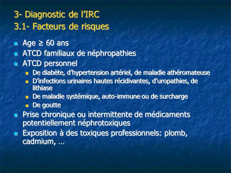 3- Diagnostic de lIRC 3.2- Examens cliniques et para-cliniques Examens cliniques: Examens cliniques: HTA, souffle vasculaire sur les axes artériels, disparition des pouls périphériques HTA, souffle vasculaire sur les axes artériels, disparition des pouls périphériques Oedèmes, reins palpables, obstacle urologique Oedèmes, reins palpables, obstacle urologique Examens para-cliniques: Examens para-cliniques: Echographie : asymétrie de taille, contours bosselés, reins de petites tailles ou gros reins polykystiques, néphrocalcinose, calcul, hydronéphrose … Echographie : asymétrie de taille, contours bosselés, reins de petites tailles ou gros reins polykystiques, néphrocalcinose, calcul, hydronéphrose … Ponction biopsie rénale Ponction biopsie rénale
