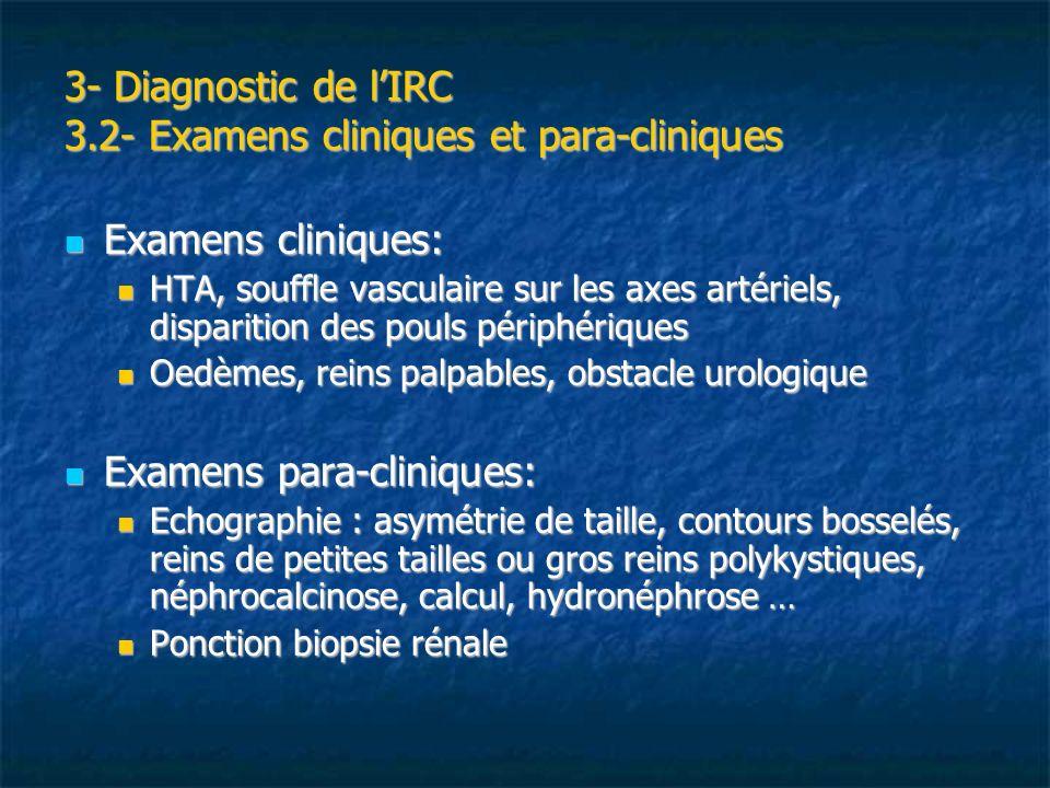 3- Diagnostic de lIRC 3.3- Examens biologiques 2 critères permettent de définir les différents stades de la MRC : le spot urinaire et le DFG Hématurie, leucocyturie Hématurie, leucocyturie Technique à la bandelette Technique à la bandelette Cytologie urinaire quantitative Cytologie urinaire quantitative Hématurie pathologique si 10 GR/mm3 ou 10 000 /ml Leucocyturie pathologique si 10 GB/mm3 ou 10 000/ml Compte dADDIS Compte dADDIS Examen durines sur 3Heures Valeurs normales:GR< 10 000/min GB < 5 000/min Causes derreur: infection urinaire (bandelette pas toujours + pour nitrite), traitement AVK, effort violent sportif, délais entre le recueil et le décompte des cellules.