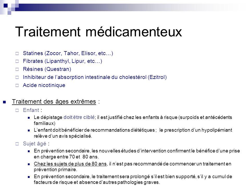 Traitement médicamenteux Statines (Zocor, Tahor, Elisor, etc…) Fibrates (Lipanthyl, Lipur, etc…) Résines (Questran) Inhibiteur de labsorption intestin