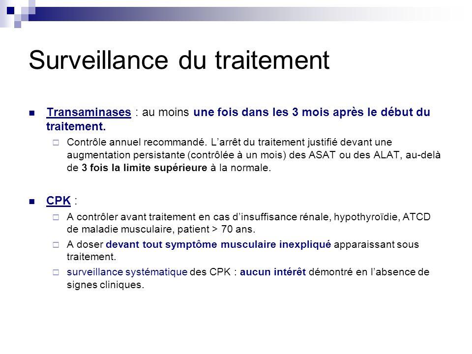 Surveillance du traitement Transaminases : au moins une fois dans les 3 mois après le début du traitement. Contrôle annuel recommandé. Larrêt du trait