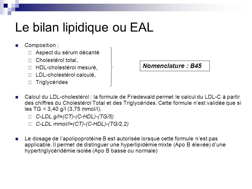 Le bilan lipidique ou EAL Composition : Aspect du sérum décanté Cholestérol total, HDL-cholestérol mesuré, LDL-cholestérol calculé, Triglycérides Calc