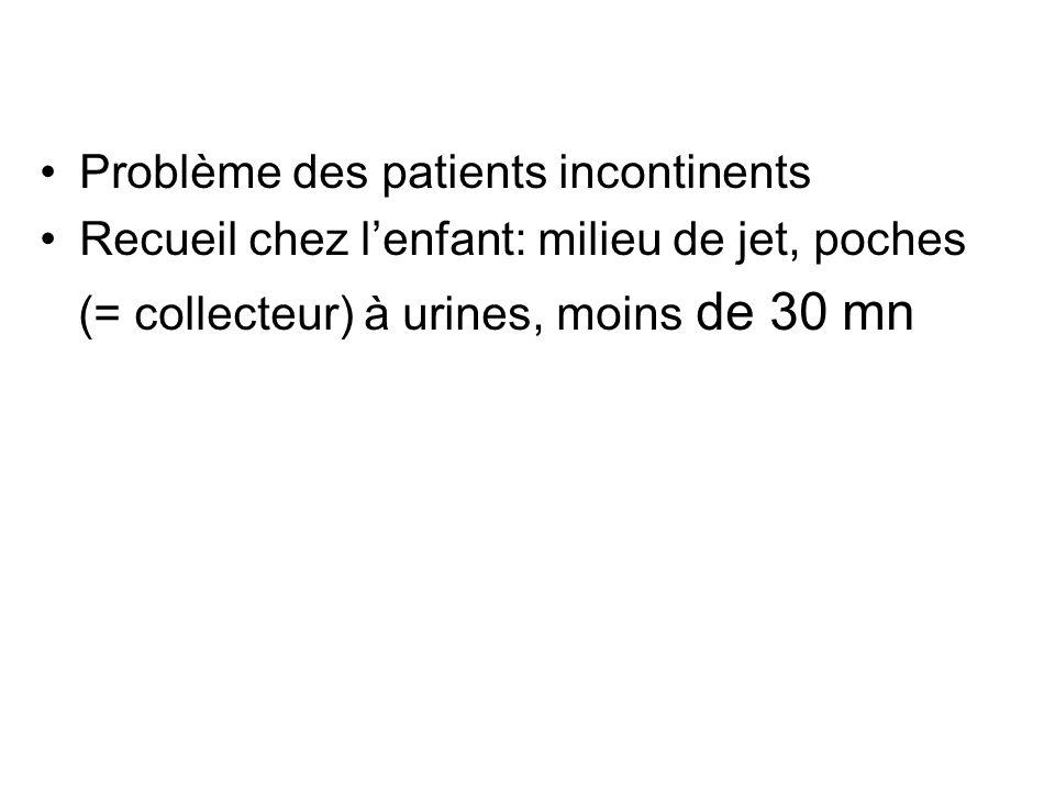 Problème des patients incontinents Recueil chez lenfant: milieu de jet, poches (= collecteur) à urines, moins de 30 mn