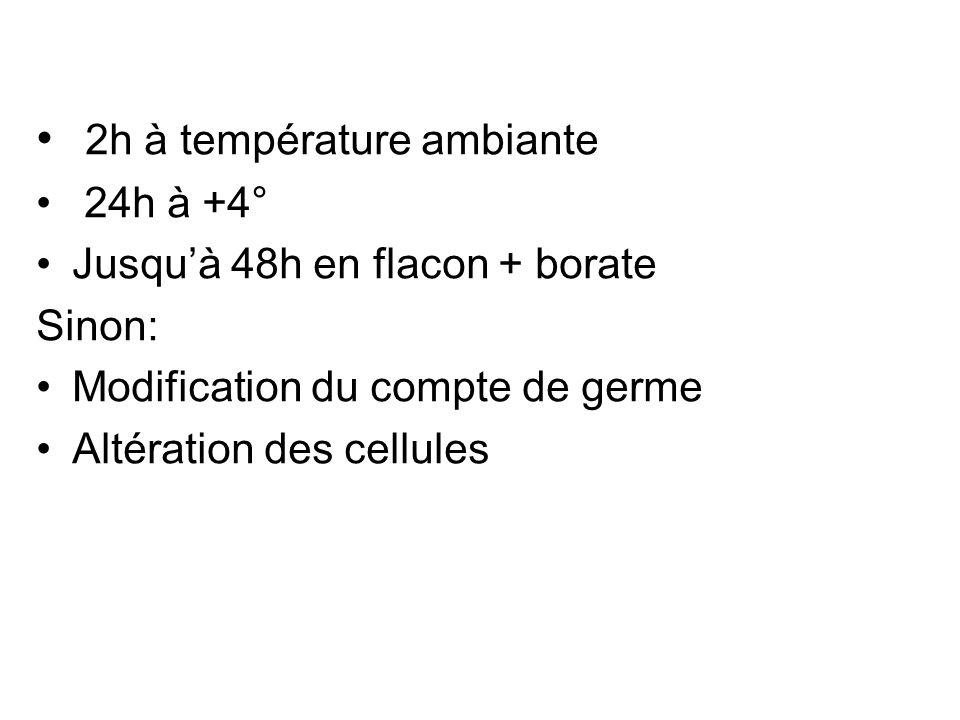 2h à température ambiante 24h à +4° Jusquà 48h en flacon + borate Sinon: Modification du compte de germe Altération des cellules