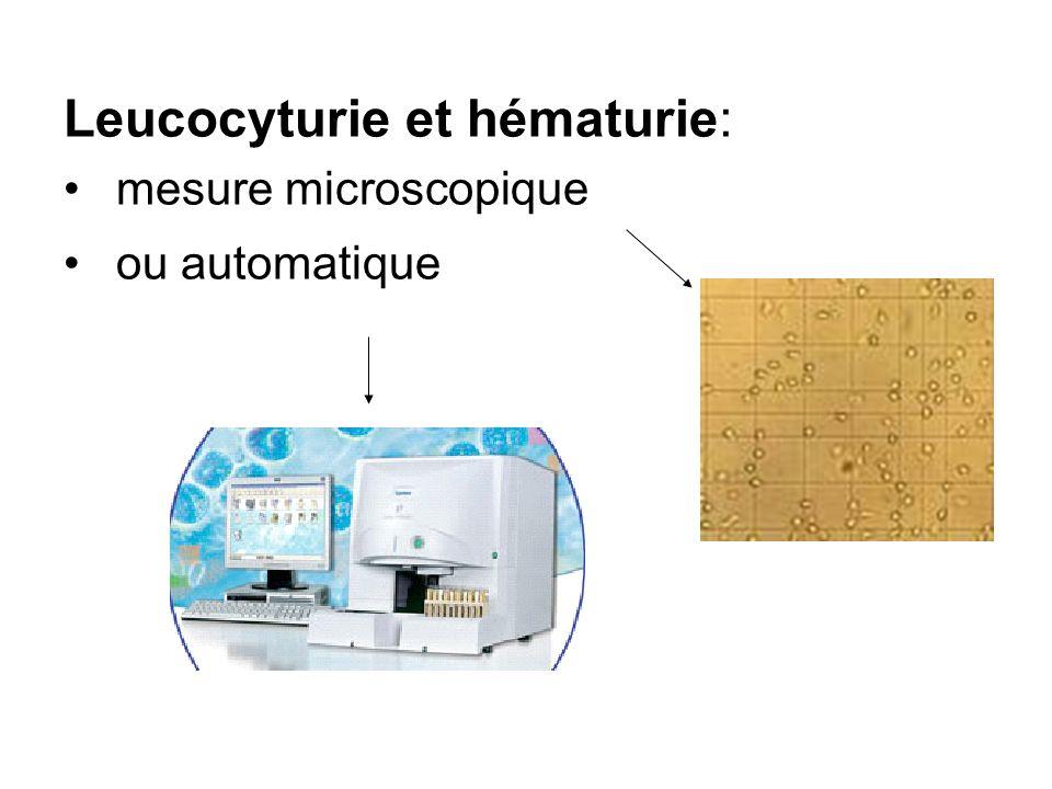Leucocyturie et hématurie: mesure microscopique ou automatique