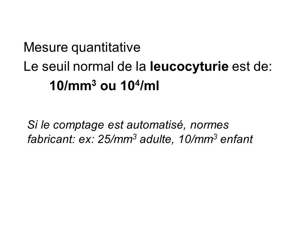 Mesure quantitative Le seuil normal de la leucocyturie est de: 10/mm 3 ou 10 4 /ml Si le comptage est automatisé, normes fabricant: ex: 25/mm 3 adulte