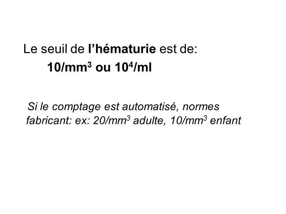 Le seuil de lhématurie est de: 10/mm 3 ou 10 4 /ml Si le comptage est automatisé, normes fabricant: ex: 20/mm 3 adulte, 10/mm 3 enfant