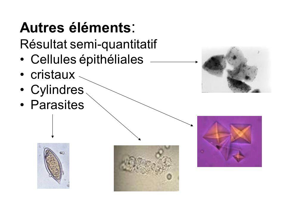 Autres éléments : Résultat semi-quantitatif Cellules épithéliales cristaux Cylindres Parasites
