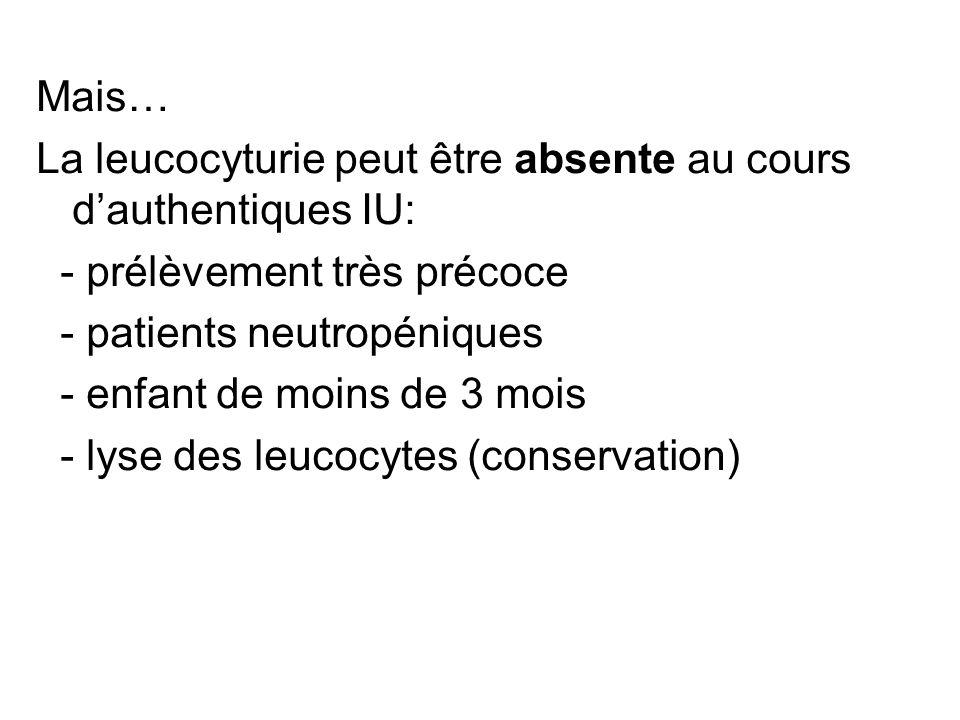 Mais… La leucocyturie peut être absente au cours dauthentiques IU: - prélèvement très précoce - patients neutropéniques - enfant de moins de 3 mois -