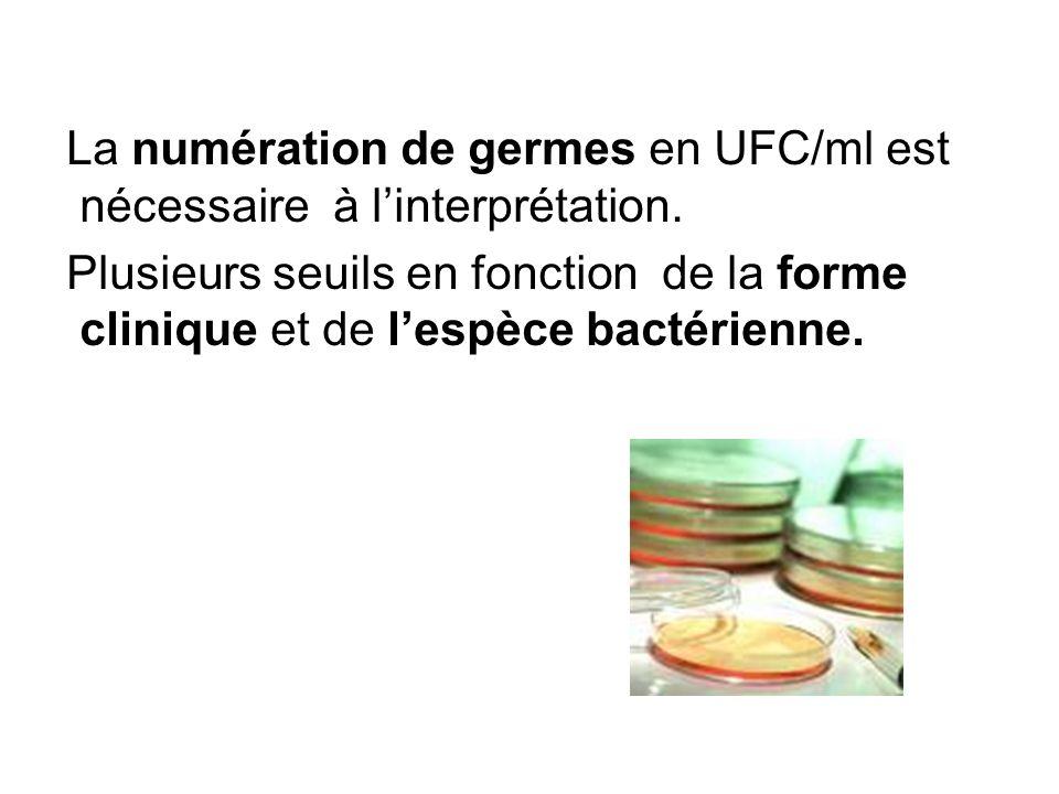La numération de germes en UFC/ml est nécessaire à linterprétation. Plusieurs seuils en fonction de la forme clinique et de lespèce bactérienne.
