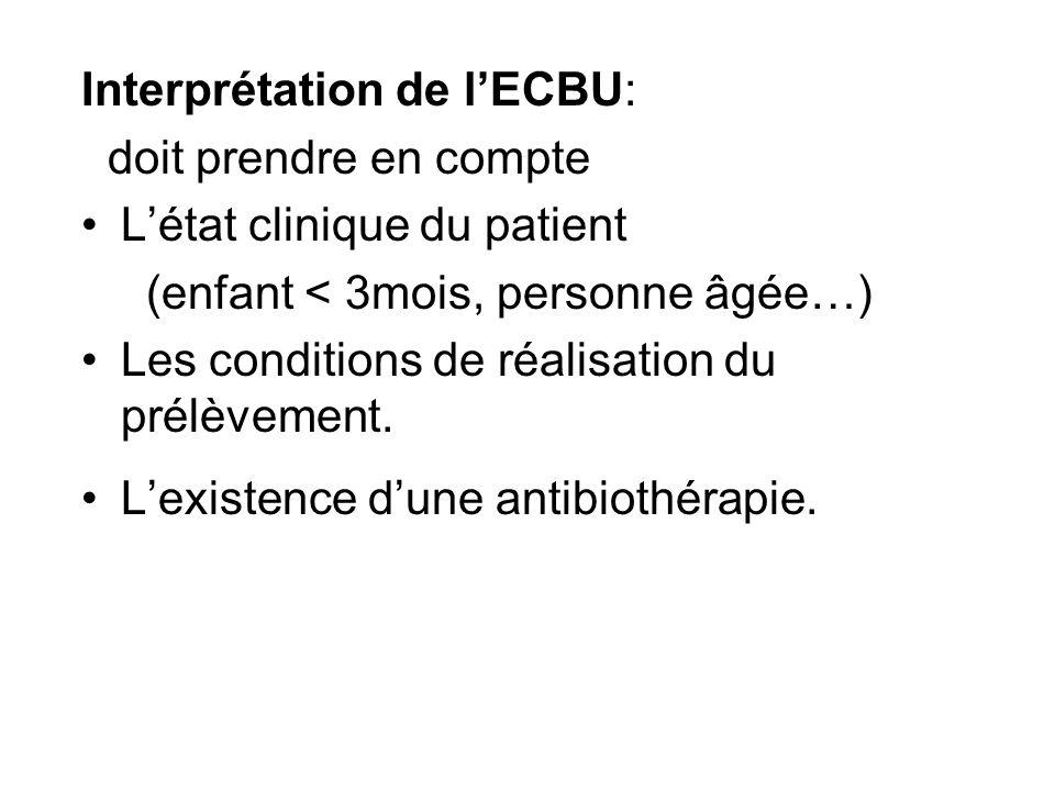 Interprétation de lECBU: doit prendre en compte Létat clinique du patient (enfant < 3mois, personne âgée…) Les conditions de réalisation du prélèvemen